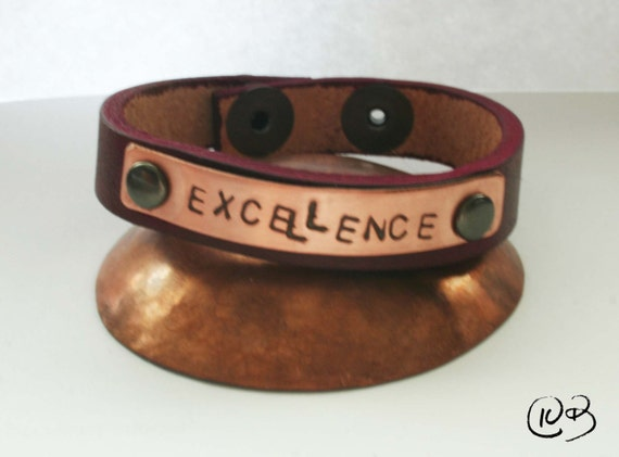 Excellence leather and copper bracelet. Celebrate excellence!