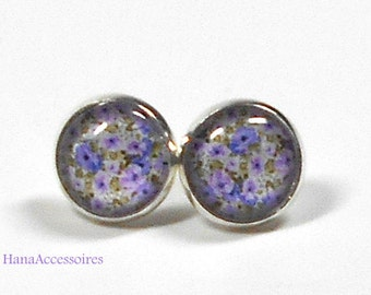 Earrings silver * flowers violet * earrings