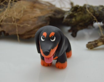 OOAK Handmade Polymer Clay Dog Dachshund Sculpture