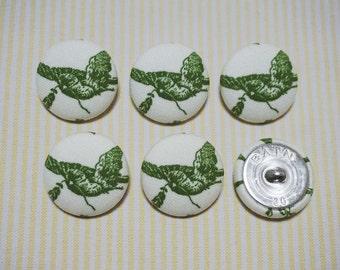 6 Green Birds Fabric Covered Buttons - Ver.2 (30mm) (Metal Shanks, Metal Flatbacks)