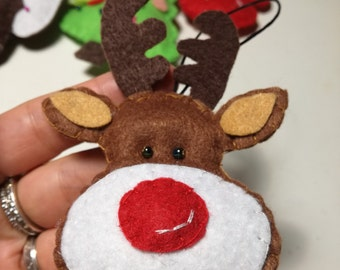 Felt Christmas ornaments Rudolph the red nose Reindeer ornament Christmas ornaments Felt reindeer Christmas tree ornament decoration