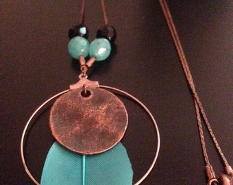 Creole turquoise feather necklace