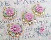 2 sparkly swarovski ab aurora borealis crystal rings in brass setting with pink porcelain rose charm no.1184-1