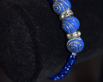 dark blue 3 bead silver spiral beads