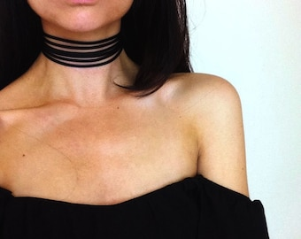 Leather Multilayer choker