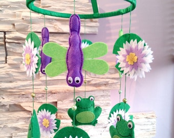 Baby Crib Mobile - Baby Mobile - Dragonflys & Frogs Mobile - Mobile in a Felt- Felt Mobile- Nursery Decor- Animal Baby Mobile- Lily Mobile