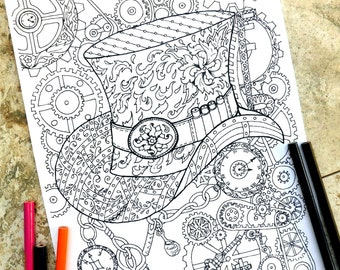 Steampunk coloring page, coloring pages, Top Hat, Coloring page, mechanical, feather, chains, keys, watch, ladybug