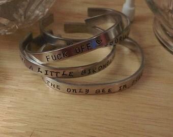 Handstamped Custom Cuff Bracelet