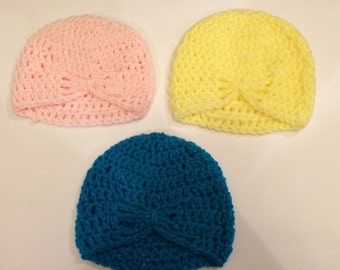 Crocheted Butterfly Baby Hats
