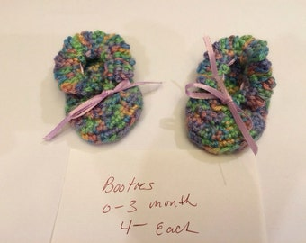 Crocheted Infant Multicolor Booties with Ribbon