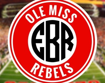 Ole Miss Monogram Frame Cutting Files in Svg, Eps, Dxf, Png for Cricut & Silhouette | Rebels Vector | College Graphics | Mississippi