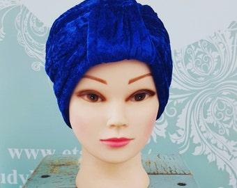 Handmade Vintage Retro Turban in Electric Blue Crushed Velvet
