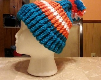 Miami Dolphins knitted hat with brim and pompom