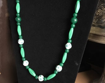 Long spring green beaded necklace