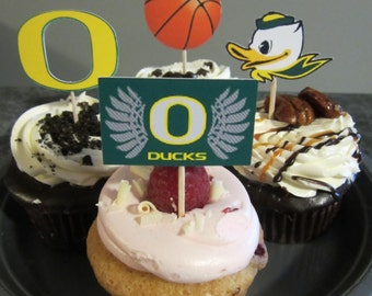 Cupcake toppers, party supplies, Oregon Ducks, basketball, sports theme, NCAA, March Madness, college