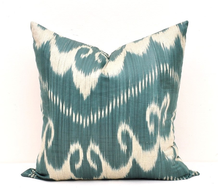 Ikat Throw Pillow Covers : Green Teal Ikat Pillow Cover-Ikat Pillows-Ikat Pillow