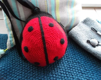 woolen bag ladybug, backpack or shoulder, directed to the hook,