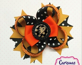 READY TO SHIP-Ducks Hair Bow-Ducks Stacked Bow-Hockey Hair Bow-Boutique Hair Bow-Stacked Bow