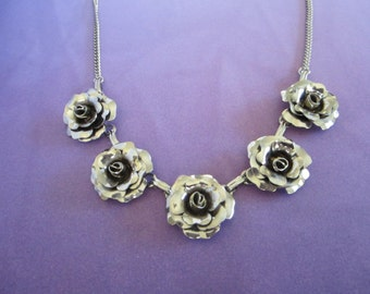 Vintage Silver Tone Roses Necklace Choker Necklace