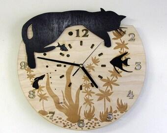 Black cat wooden wall clock