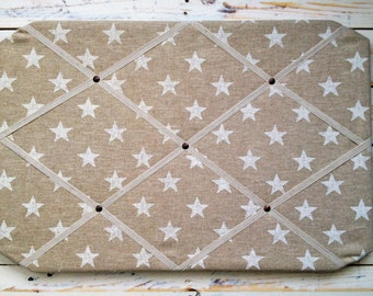 Fabric Memo Board, Stars Natural Linen, Pin Board, French Memo Board, Handmade, A2, Clarke and Clarke, Country and Coastal, Vintage Inspired
