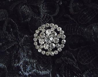 Rhinestone Circle Pin Vintage