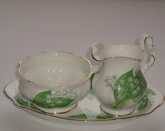 Royal Albert 'Lily of the Valley'  Cream and Sugar Set with Tray