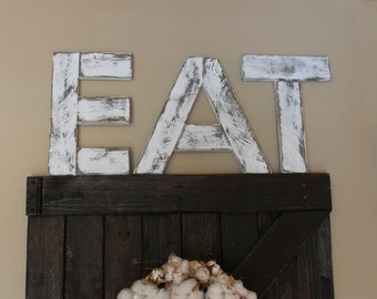 EAT wood letters  Reclaimed wood