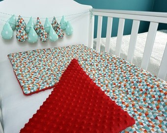 Baby Quilt / Crib Beding Set / Cotton Minky Baby Blanket / Flat Pillow / Soft Blanket / Red Baby Blanket / Baby Bedding / Thick Blanket