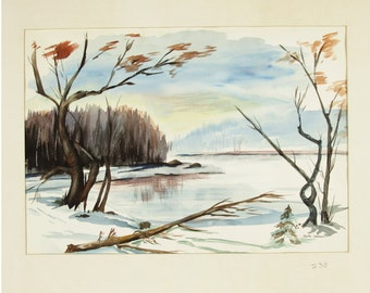 ORIGINAL painting, watercolor, signed, winter, scenic, wooded, forest, lake, nature, gift art, 18x24/mounted 22x28