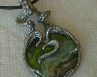 "Sculpted Solder & Glass Pendant, ""Small Worlds"""