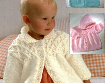 """PDF Knitting Pattern Babies & Toddlers Chunky Yoked Coat or Jacket to fit 18-28"""""""