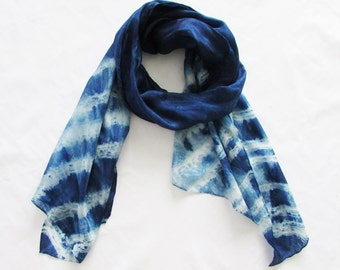 Indigo tie dye scarf  Bohemian trend Arashi shibori scarf Gift for girlfriend Silk scarf  Boho scarf Tie dye clothing Long scarf INDI090