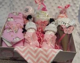 Large Baby Girl Basket With Pink And White Chevron Baby Bandana Bib Gift Basket