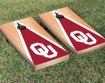 Oklahoma Sooners Cornhole Bag Toss Game Set Triangle Designs