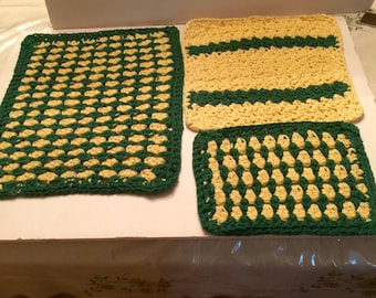Cotton Washcloths Three Sizes Green & Yellow