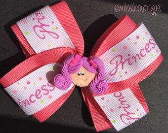 Pink Princess Theme Hair Bow.