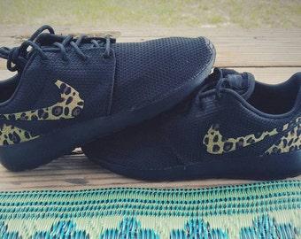 Custom nike roshe run leopard cheetah shoes, black
