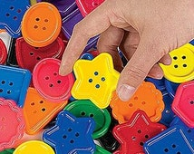 LARGE CRAFT BUTTONS / For Projects Or For Kids To Play With / Educational Activity Sheets Included