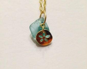 Sand Dollar Sea Glass Necklace