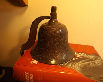 RARE Large bronze wall bell. Delightful antique large etched bell. Marked: Bells of Sarna India, #436T. Great home, office  decor or gift.