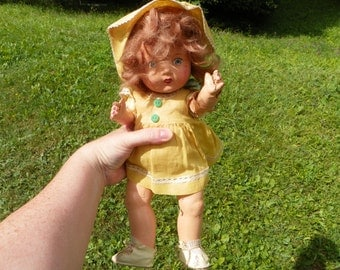 Rare Antique Reliable Toy Company Baby Marilyn  1940's Composition Doll in Original Outfit in Need of Love and TLC