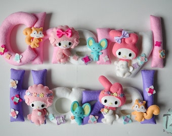 Felt baby name my melody, nursery decor, Personalized Baby Nursery Name Wall Decor garland with cartoon characters ( Price per one letter)