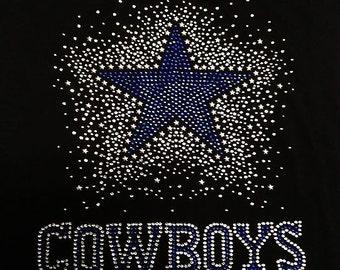 dalls cowboy Rhinestone Bling  T-Shirt top