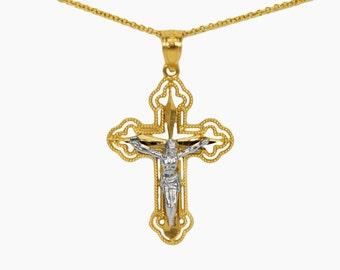 14k Yellow Gold Crucifix Necklace Pendant