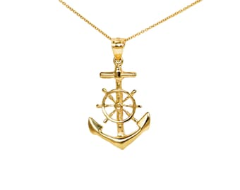 10k Gold Anchor and Ship Wheel with Thin Gold Chain, Large Gold Anchor Charm for Charm Necklace, Anchor Ship Wheel Pendant, Sailing Jewelry