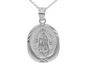 925 Sterling Silver La Virgen de Guadalupe Necklace with Sterling Silver Chain, Our Lady of Guadalupe Necklace Holy Water Dipped Necklac