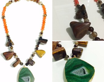Agate and Tiger eye Necklace