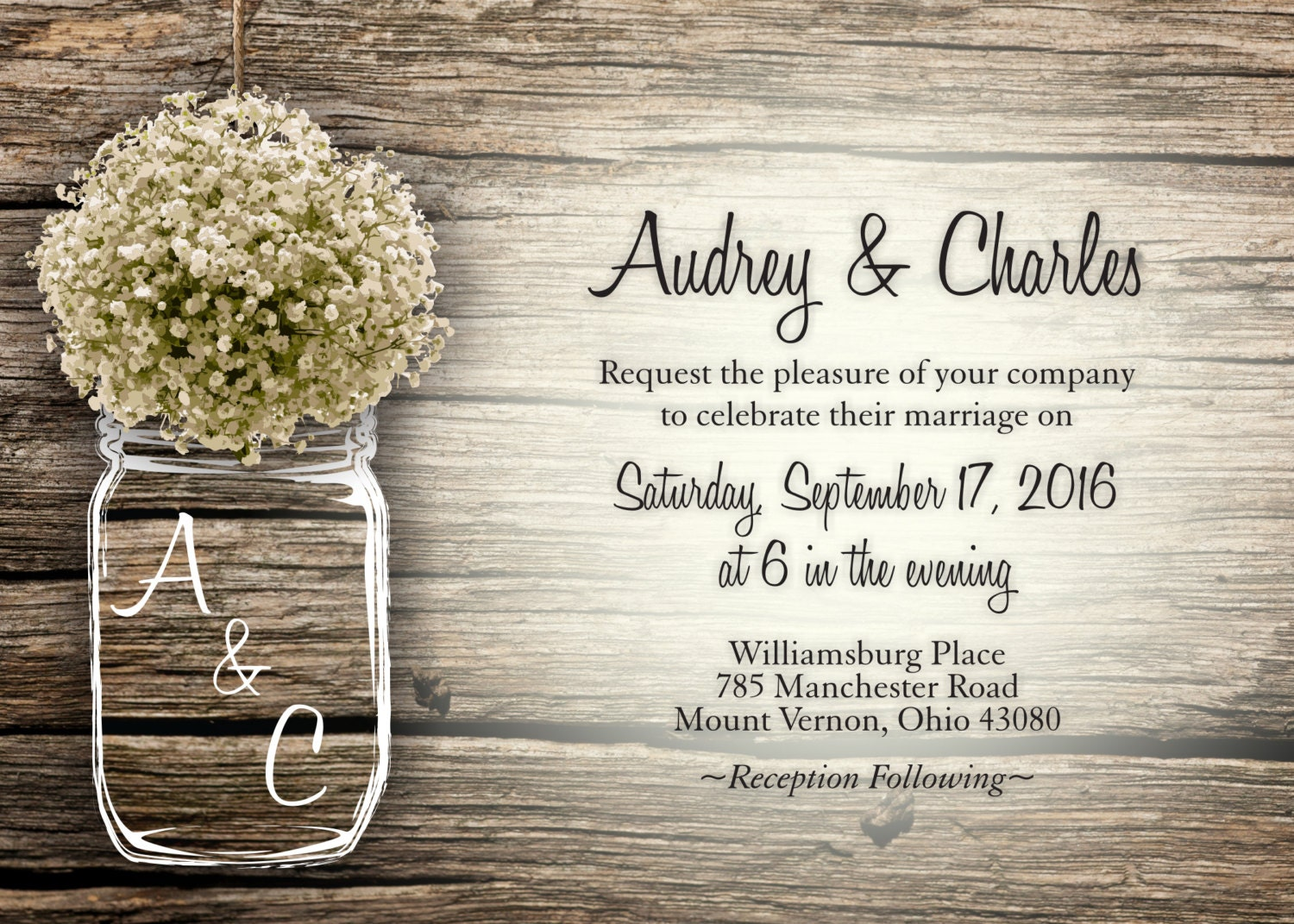 mason jar babys breath flowers rustic wedding invitation set printed cheap wedding invitations unique custom invitations affordable - Cheap Wedding Invitations Sets