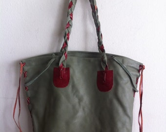 Handmade bag for woman, handbag from real leather, vintage, green color, size: medium